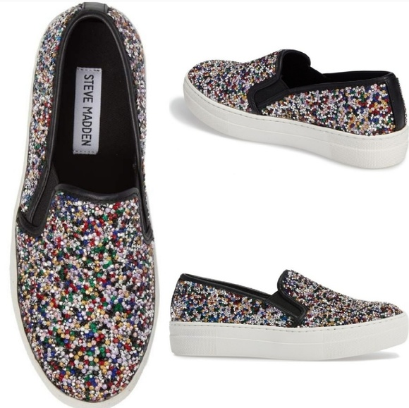 491a0f99cfe STEVE MADDEN Gracious Glitter Slip On Sneakers